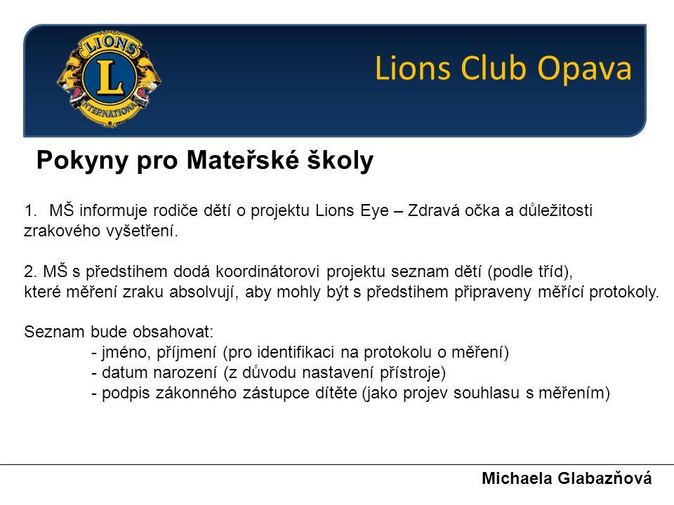 Pokyny pro Mateřské školy Michaela Glabazňová 1.MŠ informuje rodiče dětí o projektu Lions Eye – Zdravá očka a důležitosti zrakového vyšetření. 2. MŠ s