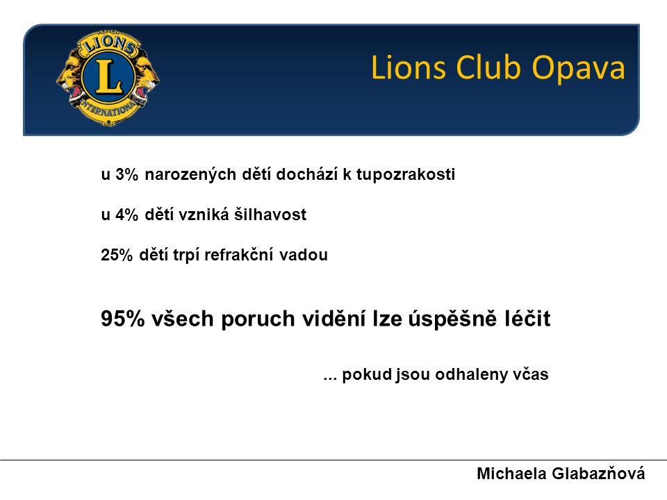 Screeningové vyšetření zraku v Opavě a okolí je výhradně aktivitou členů Lions Clubu Opava.