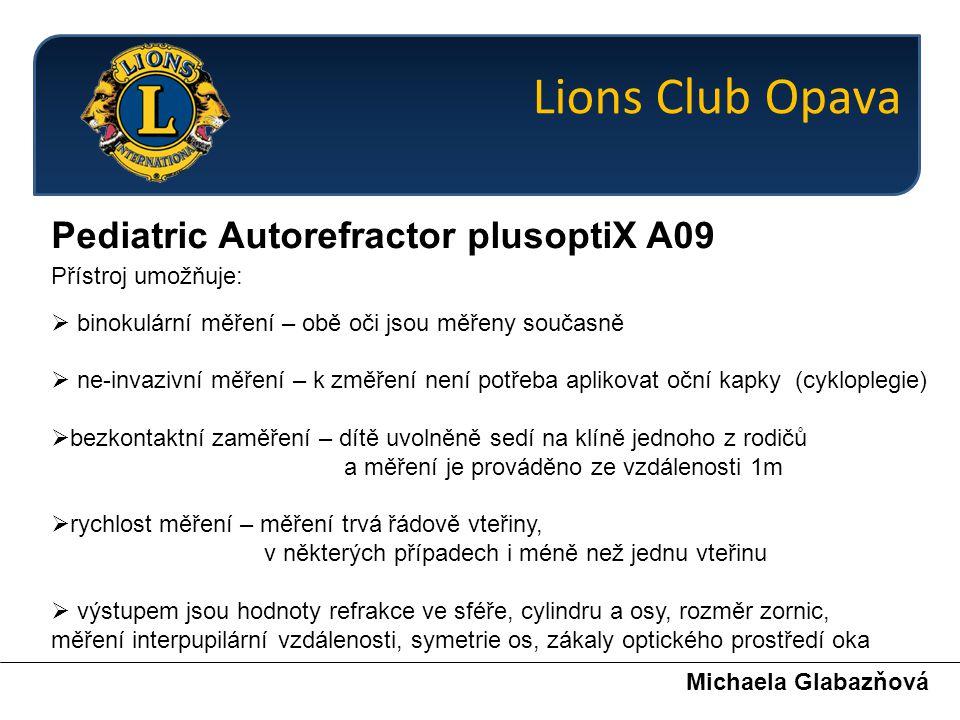 Pokyny pro Mateřské školy Michaela Glabazňová pomozte nám pomáhat … jde o dětský zrak Lions Club Opava