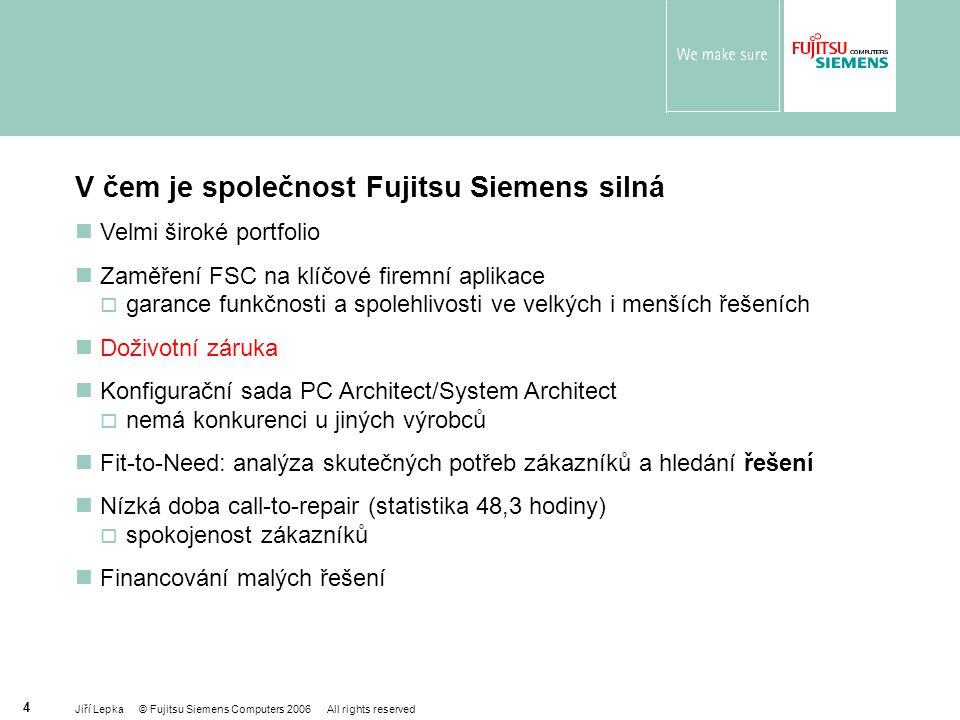 Jiří Lepka © Fujitsu Siemens Computers 2006 All rights reserved 25 PRIMERGY RX220 Vhodný jako:  Web server  Terminal server  Aplikační server ve scale-out scénáři  Vysoký výpočetní výkon Poskytuje vynikající poměr mezi cenou a výkonem  Dual AMD Opteron