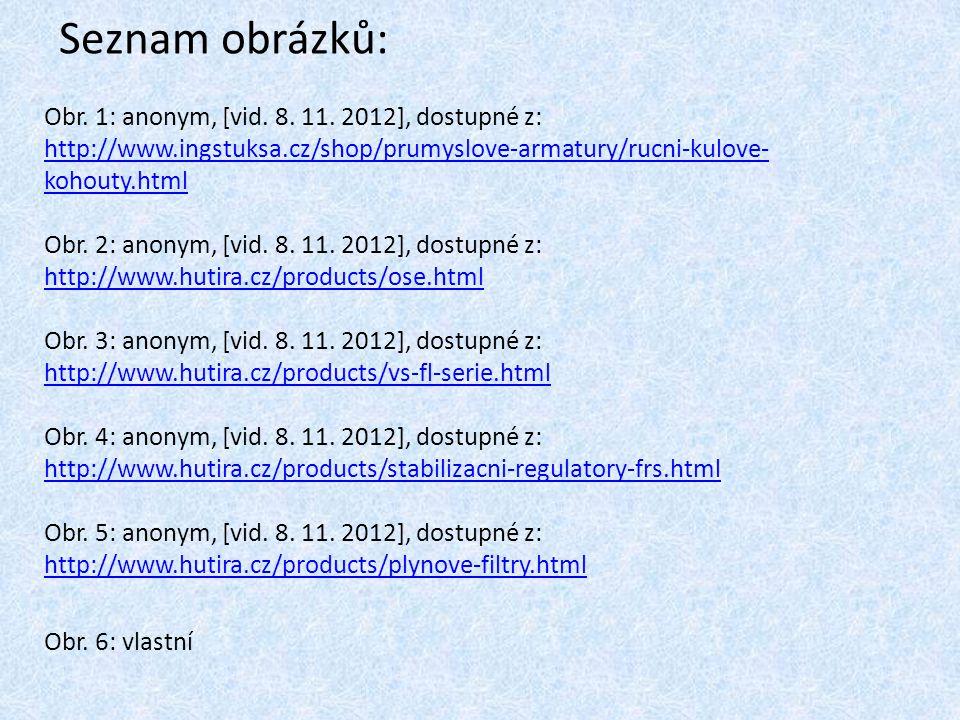 Seznam obrázků: Obr. 1: anonym, [vid. 8. 11. 2012], dostupné z: http://www.ingstuksa.cz/shop/prumyslove-armatury/rucni-kulove- kohouty.html http://www