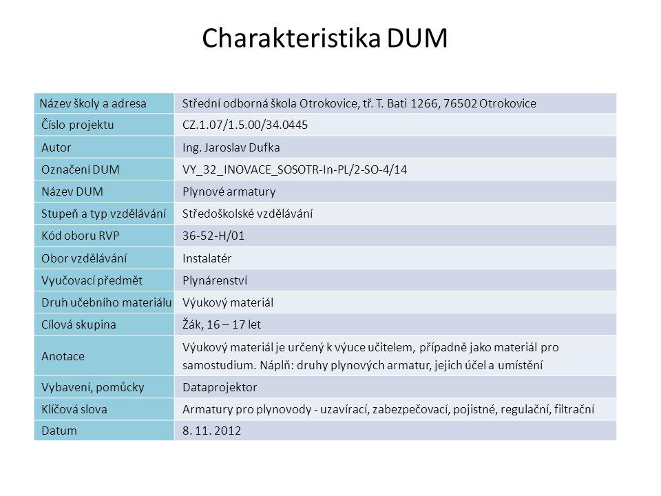 Plynové armatury Náplň výuky Armatury -uzavírací -zabezpečovací -pojistné -regulační -filtrační