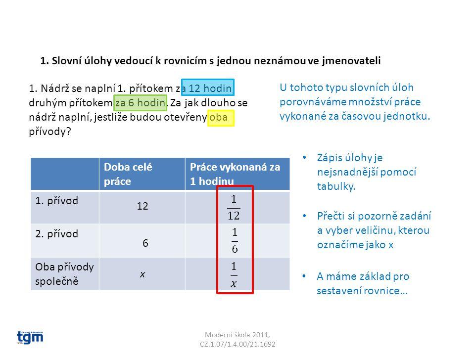 Moderní škola 2011, CZ.1.07/1.4.00/21.1692 1. Nádrž se naplní 1. přítokem za 12 hodin, druhým přítokem za 6 hodin. Za jak dlouho se nádrž naplní, jest