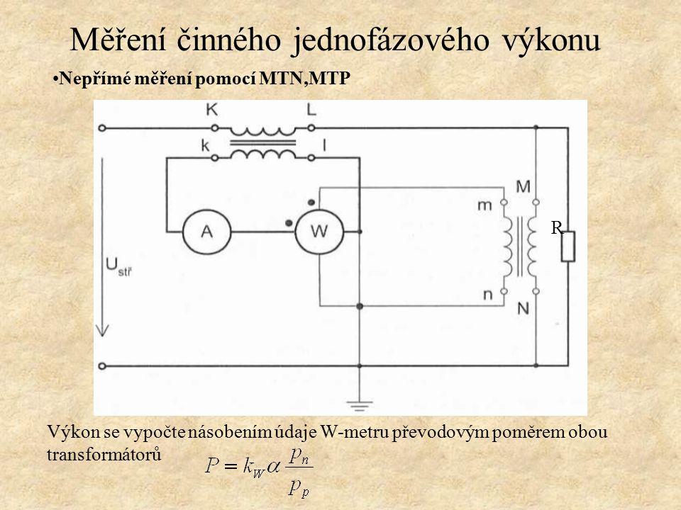 Nepřímé měření pomocí MTN,MTP Výkon se vypočte násobením údaje W-metru převodovým poměrem obou transformátorů Měření činného jednofázového výkonu R