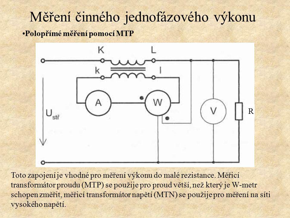 Polopřímé měření pomocí MTP Toto zapojení je vhodné pro měření výkonu do malé rezistance. Měřicí transformátor proudu (MTP) se použije pro proud větší