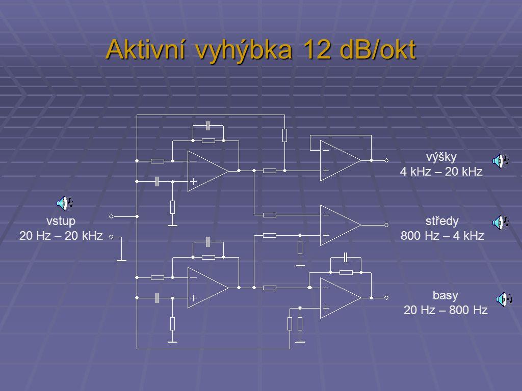 Aktivní vyhýbka 12 dB/okt vstup 20 Hz – 20 kHz výšky 4 kHz – 20 kHz středy 800 Hz – 4 kHz basy 20 Hz – 800 Hz