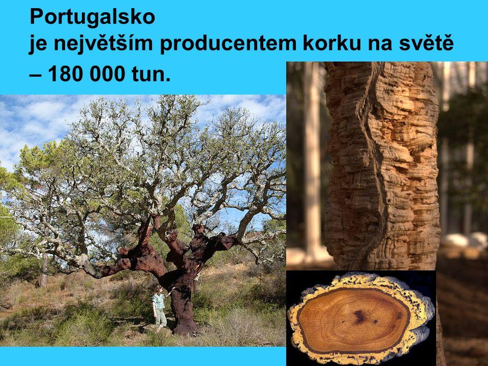 Portugalsko je největším producentem korku na světě – 180 000 tun.