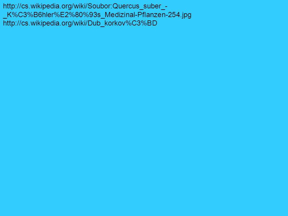 http://cs.wikipedia.org/wiki/Soubor:Quercus_suber_- _K%C3%B6hler%E2%80%93s_Medizinal-Pflanzen-254.jpg http://cs.wikipedia.org/wiki/Dub_korkov%C3%BD