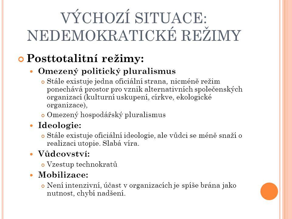 VÝCHOZÍ SITUACE: NEDEMOKRATICKÉ REŽIMY Posttotalitní režimy: Omezený politický pluralismus Stále existuje jedna oficiální strana, nicméně režim ponechává prostor pro vznik alternativních společenských organizací (kulturní uskupení, církve, ekologické organizace), Omezený hospodářský pluralismus Ideologie: Stále existuje oficiální ideologie, ale vůdci se méně snaží o realizaci utopie.