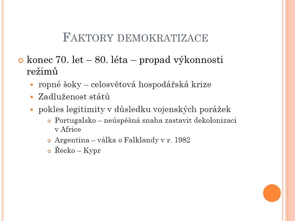 F AKTORY DEMOKRATIZACE konec 70. let – 80.