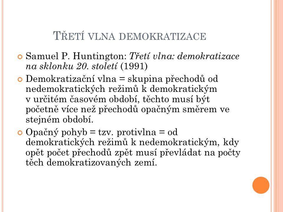 T ŘETÍ VLNA DEMOKRATIZACE Samuel P. Huntington: Třetí vlna: demokratizace na sklonku 20.