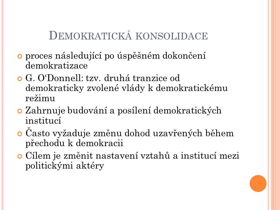 D EMOKRATICKÁ KONSOLIDACE proces následující po úspěšném dokončení demokratizace G.