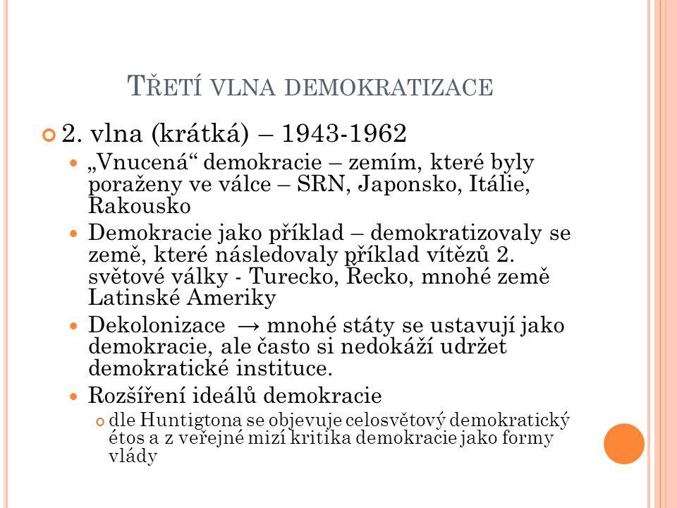 FAKTORY DEMOKRATIZACE Vnější tlak na demokratizaci Významní světoví aktéři podporovaly demokratizaci USA - od pol.