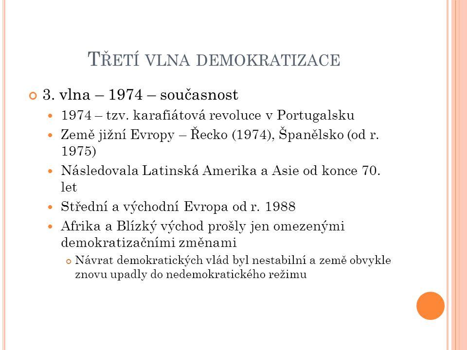 T ŘETÍ VLNA DEMOKRATIZACE 3. vlna – 1974 – současnost 1974 – tzv.