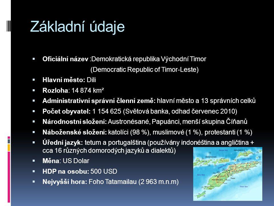 Základní údaje  Oficiální název :Demokratická republika Východní Timor (Democratic Republic of Timor-Leste)  Hlavní město: Dili  Rozloha: 14 874 km²  Administrativní správní členní země: hlavní město a 13 správních celků  Počet obyvatel: 1 154 625 (Světová banka, odhad červenec 2010)  Národnostní složení: Austronésané, Papuánci, menší skupina Číňanů  Náboženské složení: katolíci (98 %), muslimové (1 %), protestanti (1 %)  Úřední jazyk: tetum a portugalština (používány indonéština a angličtina + cca 16 různých domorodých jazyků a dialektů)  Měna: US Dolar  HDP na osobu: 500 USD  Nejvyšší hora: Foho Tatamailau (2 963 m.n.m)