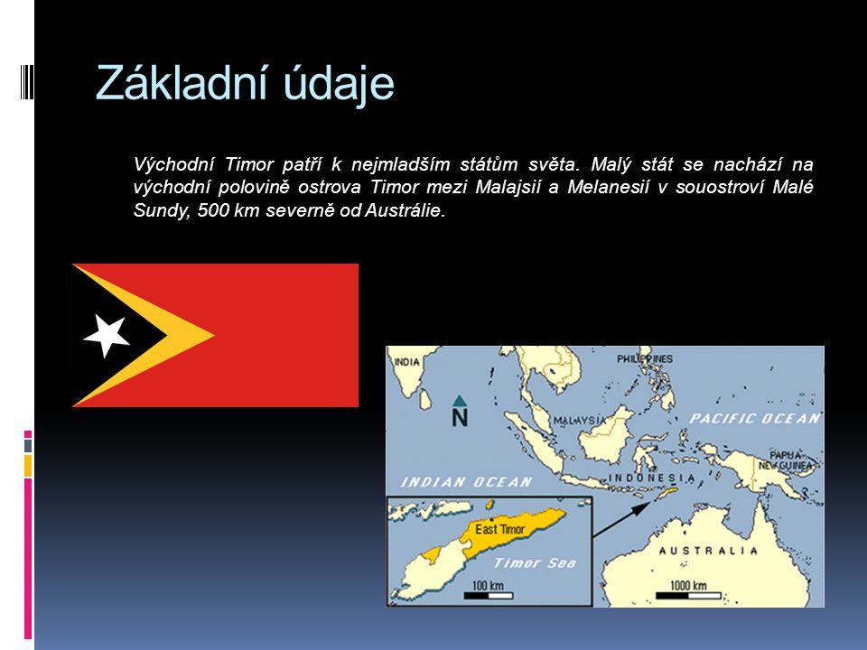 Základní údaje Východní Timor patří k nejmladším státům světa. Malý stát se nachází na východní polovině ostrova Timor mezi Malajsií a Melanesií v sou