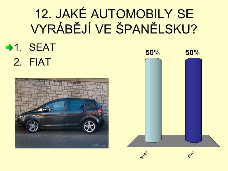 12. JAKÉ AUTOMOBILY SE VYRÁBĚJÍ VE ŠPANĚLSKU? 1.SEAT 2.FIAT