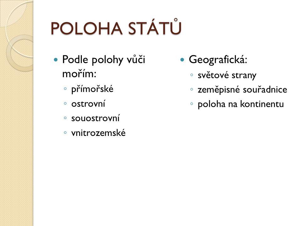 POLOHA STÁTŮ Podle polohy vůči mořím: ◦ přímořské ◦ ostrovní ◦ souostrovní ◦ vnitrozemské Geografická: ◦ světové strany ◦ zeměpisné souřadnice ◦ poloh