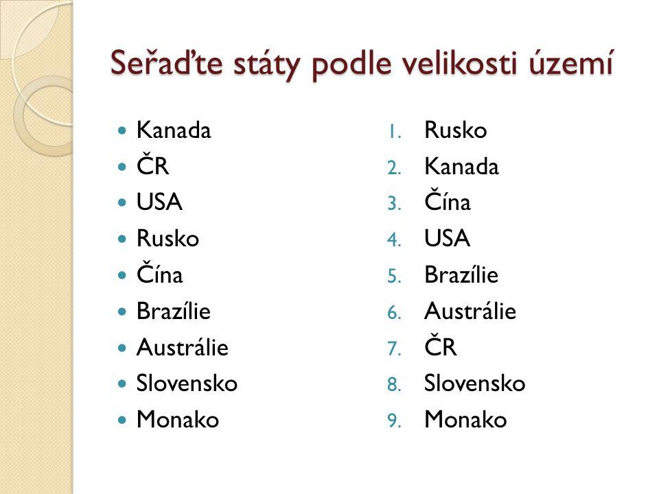 Seřaďte státy podle velikosti území Kanada ČR USA Rusko Čína Brazílie Austrálie Slovensko Monako 1. Rusko 2. Kanada 3. Čína 4. USA 5. Brazílie 6. Aust
