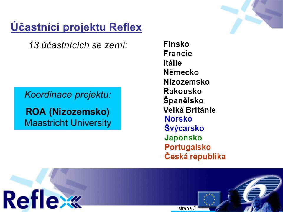 strana 3 Účastníci projektu Reflex 13 účastnících se zemí: Finsko Francie Itálie Německo Nizozemsko Rakousko Španělsko Velká Británie Koordinace projektu: ROA (Nizozemsko) Maastricht University Norsko Švýcarsko Japonsko Portugalsko Česká republika