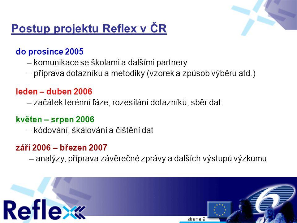 strana 10 Realizace projektu Reflex v ČR V rámci projektu Reflex proběhlo v březnu – červnu 2006 šetření absolventů českých vysokých škol z let 2001 a 2002 (4-5 let po absolvování) Projektu Reflex se zúčastnilo: – 20 veřejných vysokých škol (83% z celkem 24 škol) – 84 fakult VVŠ s absolventy 2001-02 (71% z celkem 119 fakult) – 1 vysoká škola státní a 1 soukromá –rozeslaly svým absolventům téměř 30 000 dotazníků – vyplněný dotazník vrátilo 6794 absolventů (23% dotázaných)
