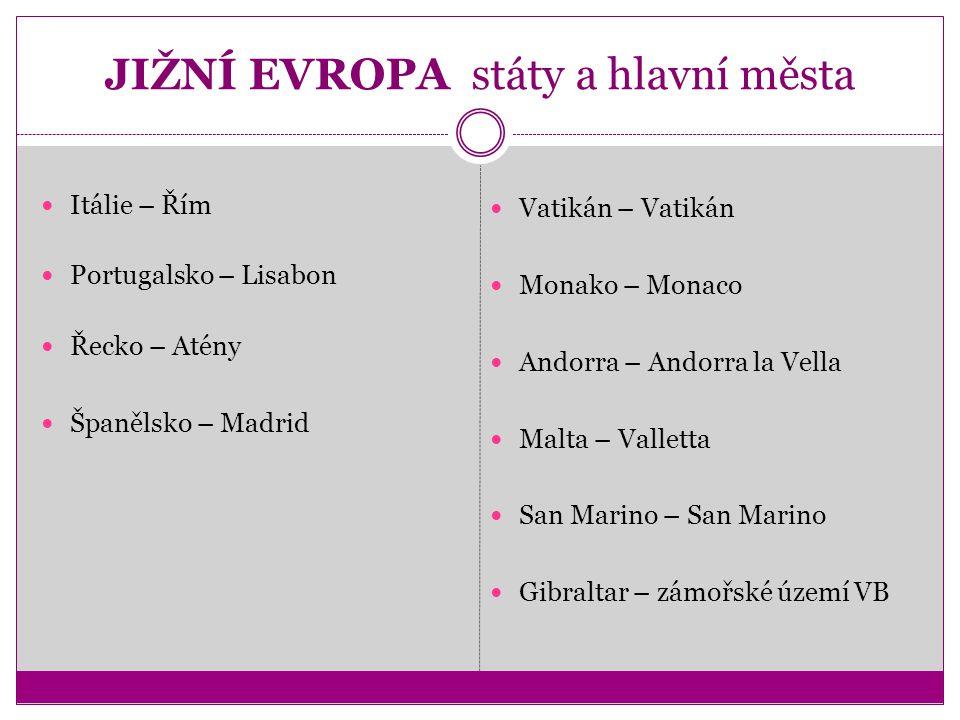 JIŽNÍ EVROPA státy a hlavní města Itálie – Řím Portugalsko – Lisabon Řecko – Atény Španělsko – Madrid Vatikán – Vatikán Monako – Monaco Andorra – Ando