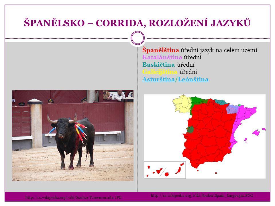 ŠPANĚLSKO – CORRIDA, ROZLOŽENÍ JAZYKŮ http://cs.wikipedia.org/wiki/Soubor:Toroencorrida.JPG http://cs.wikipedia.org/wiki/Soubor:Spain_languages.PNG Šp