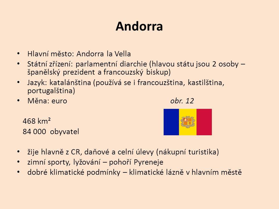 Andorra Hlavní město: Andorra la Vella Státní zřízení: parlamentní diarchie (hlavou státu jsou 2 osoby – španělský prezident a francouzský biskup) Jazyk: katalánština (používá se i francouzština, kastilština, portugalština) Měna: euro obr.