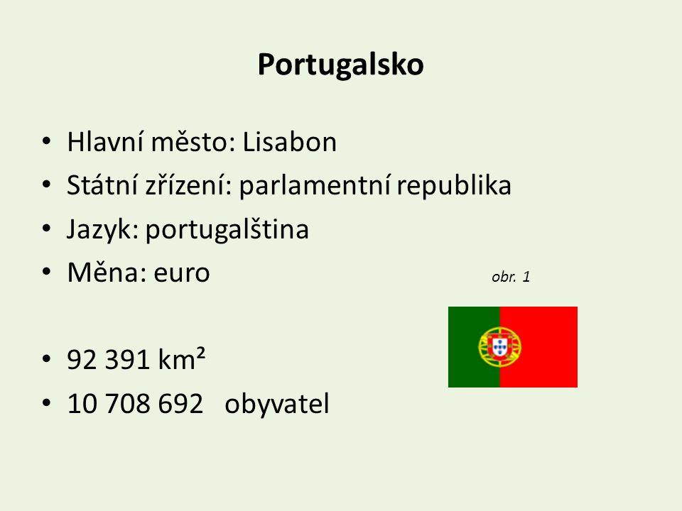 Portugalsko Hlavní město: Lisabon Státní zřízení: parlamentní republika Jazyk: portugalština Měna: euro obr.