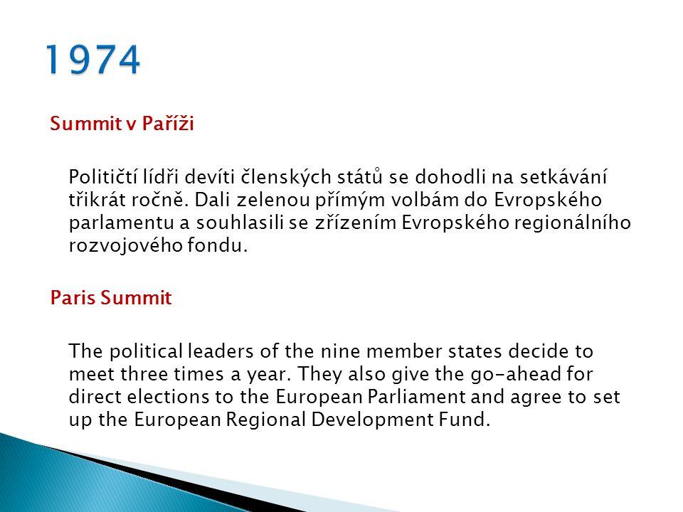 Summit v Paříži Političtí lídři devíti členských států se dohodli na setkávání třikrát ročně. Dali zelenou přímým volbám do Evropského parlamentu a so