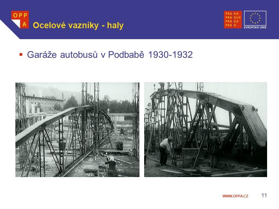 WWW.OPPA.CZ Ocelové vazníky - haly  Garáže autobusů v Podbabě 1930-1932 11