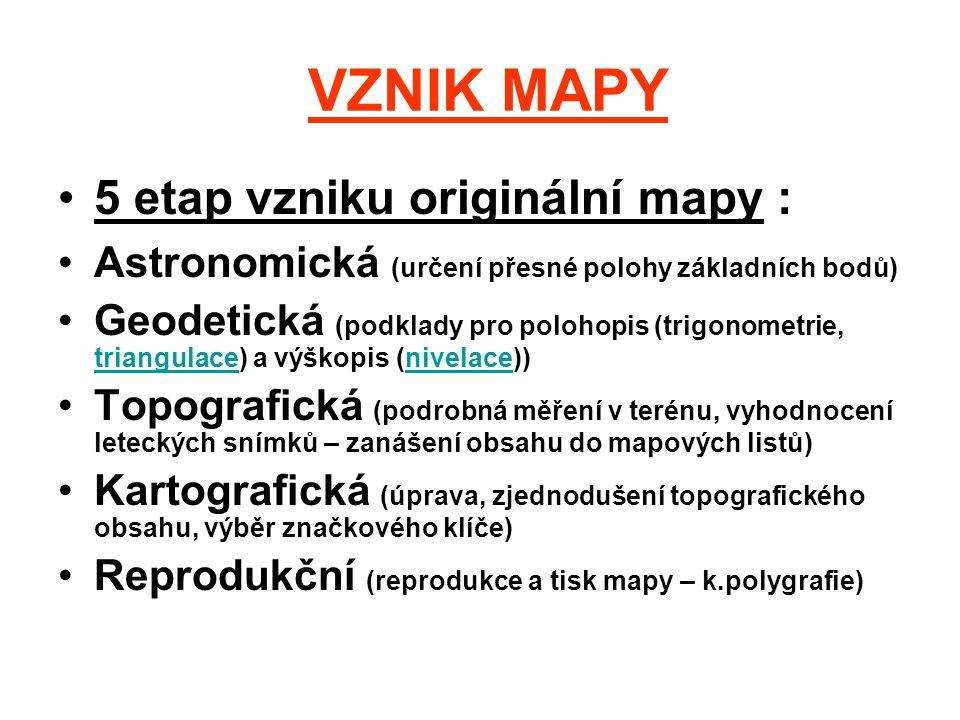 VZNIK MAPY 5 etap vzniku originální mapy : Astronomická (určení přesné polohy základních bodů) Geodetická (podklady pro polohopis (trigonometrie, tria
