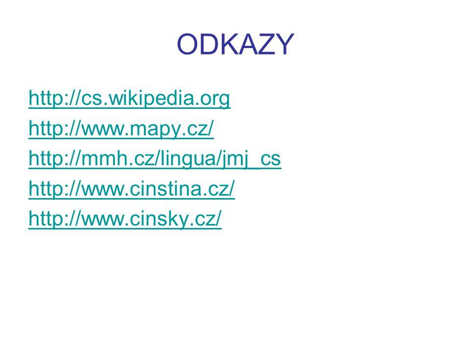 ODKAZY http://cs.wikipedia.org http://www.mapy.cz/ http://mmh.cz/lingua/jmj_cs http://www.cinstina.cz/ http://www.cinsky.cz/