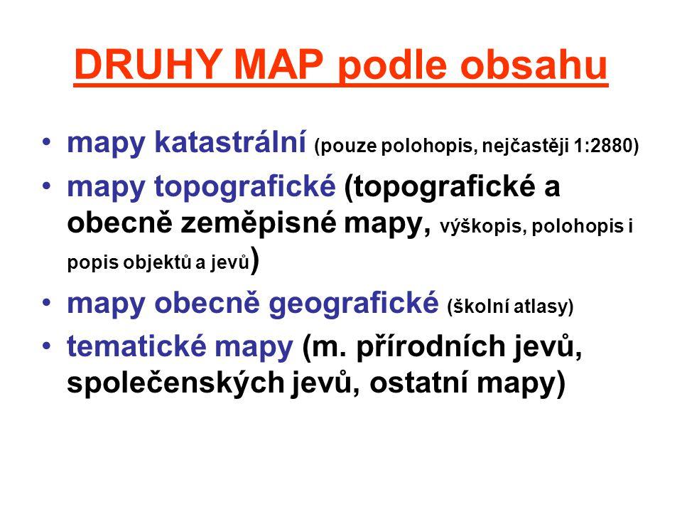 DRUHY MAP podle obsahu mapy katastrální (pouze polohopis, nejčastěji 1:2880) mapy topografické (topografické a obecně zeměpisné mapy, výškopis, poloho