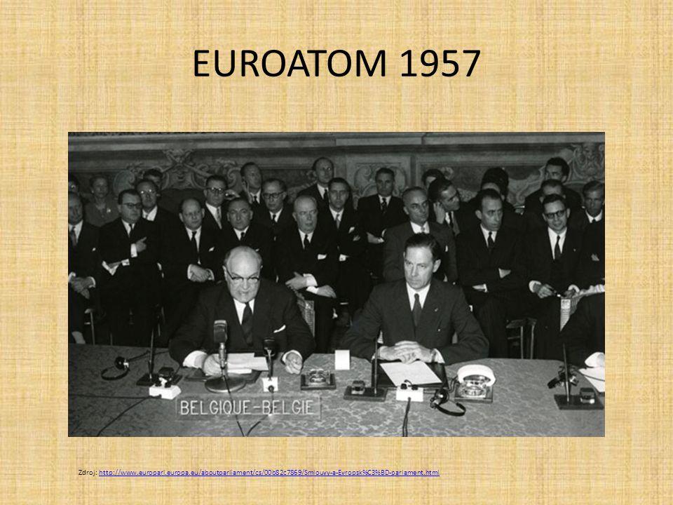 EUROATOM 1957 Zdroj: http://www.europarl.europa.eu/aboutparliament/cs/00b82c7869/Smlouvy-a-Evropsk%C3%BD-parlament.htmlhttp://www.europarl.europa.eu/a