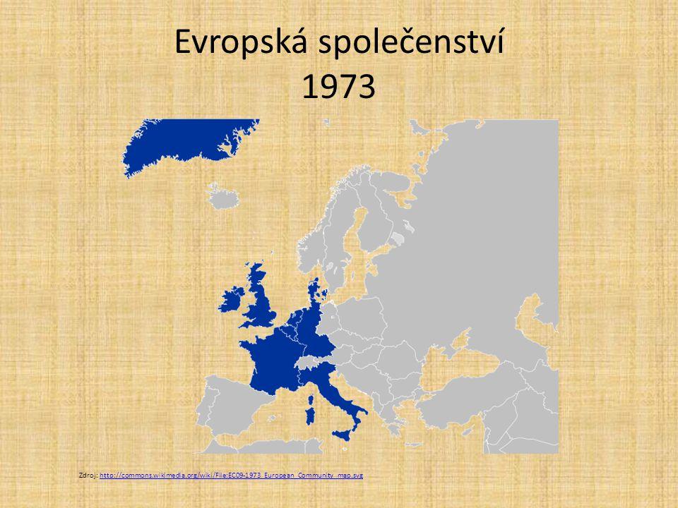 Evropská společenství 1973 Zdroj: http://commons.wikimedia.org/wiki/File:EC09-1973_European_Community_map.svghttp://commons.wikimedia.org/wiki/File:EC
