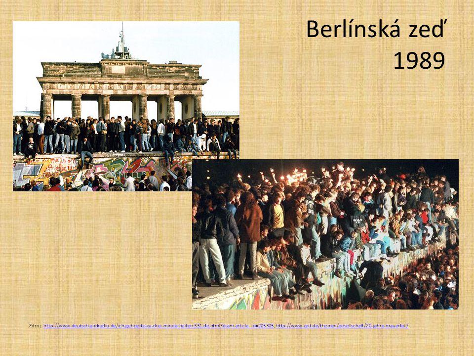 Berlínská zeď 1989 Zdroj: http://www.deutschlandradio.de/ich-gehoerte-zu-drei-minderheiten.331.de.html?dram:article_id=205305, http://www.zeit.de/them