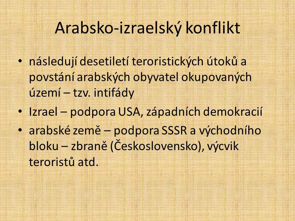 Arabsko-izraelský konflikt následují desetiletí teroristických útoků a povstání arabských obyvatel okupovaných území – tzv. intifády Izrael – podpora
