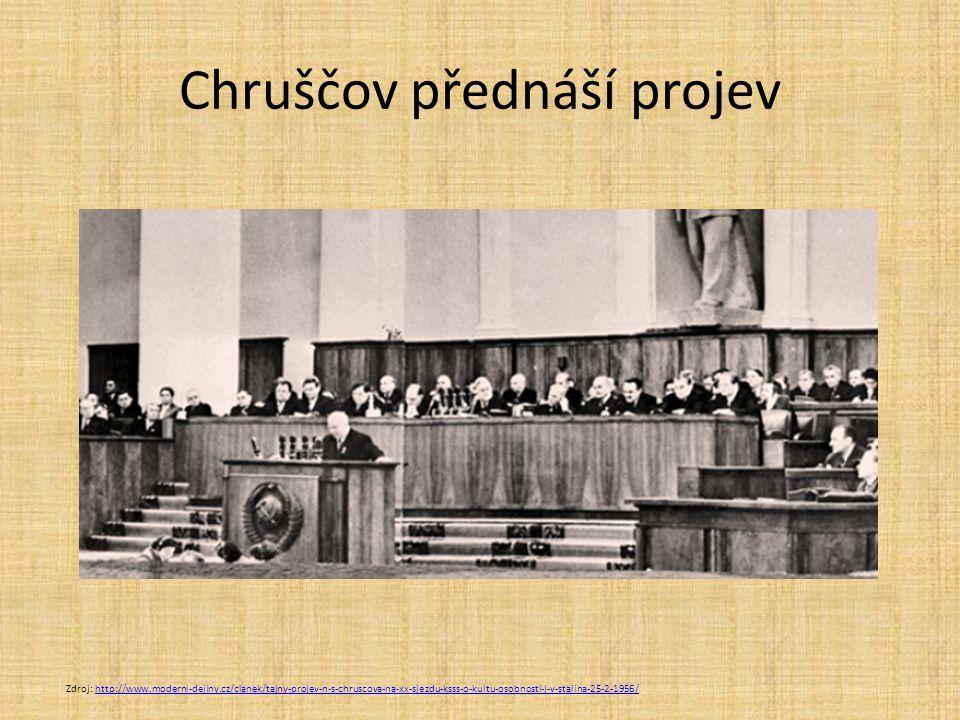 Chruščov přednáší projev Zdroj: http://www.moderni-dejiny.cz/clanek/tajny-projev-n-s-chruscova-na-xx-sjezdu-ksss-o-kultu-osobnosti-j-v-stalina-25-2-19