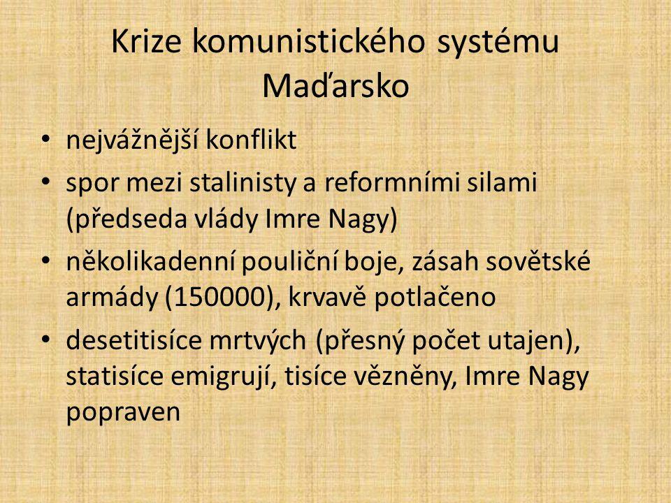 Krize komunistického systému Maďarsko nejvážnější konflikt spor mezi stalinisty a reformními silami (předseda vlády Imre Nagy) několikadenní pouliční