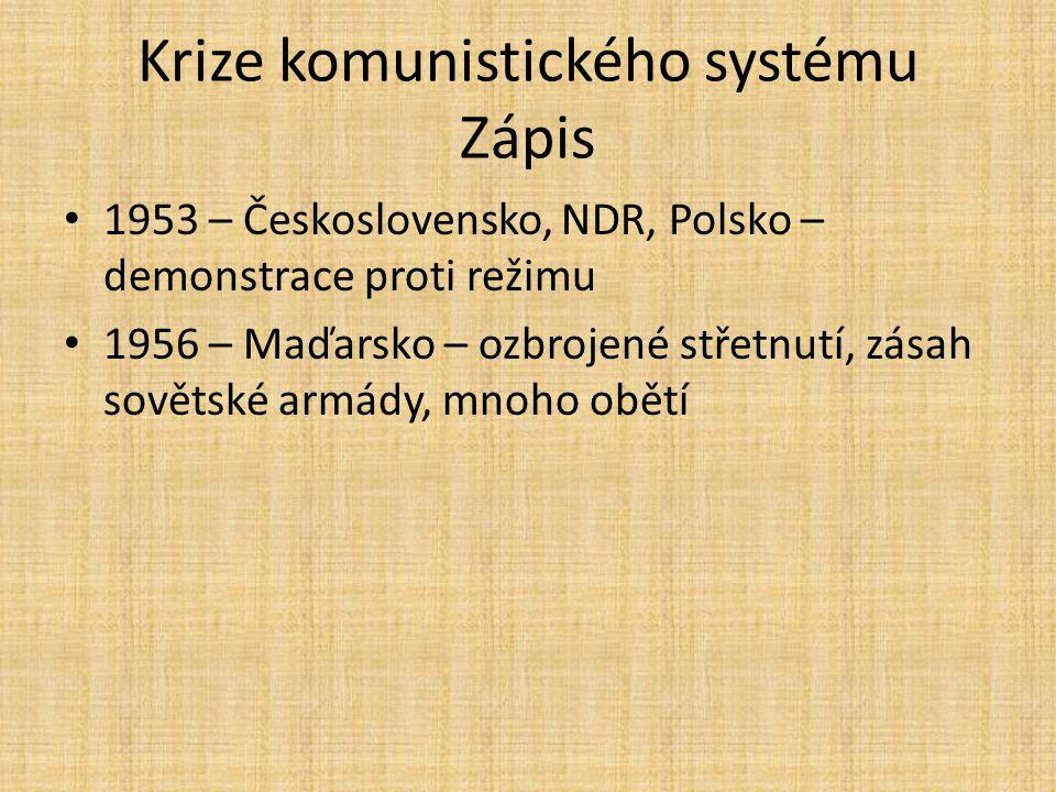 Krize komunistického systému Zápis 1953 – Československo, NDR, Polsko – demonstrace proti režimu 1956 – Maďarsko – ozbrojené střetnutí, zásah sovětské