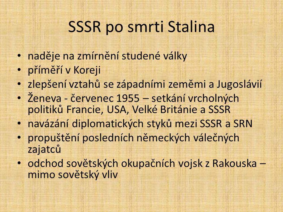 SSSR po smrti Stalina naděje na zmírnění studené války příměří v Koreji zlepšení vztahů se západními zeměmi a Jugoslávií Ženeva - červenec 1955 – setk