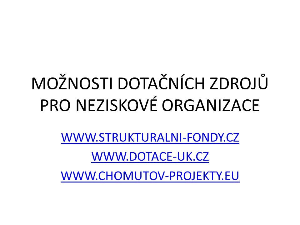 MOŽNOSTI DOTAČNÍCH ZDROJŮ PRO NEZISKOVÉ ORGANIZACE WWW.STRUKTURALNI-FONDY.CZ WWW.DOTACE-UK.CZ WWW.CHOMUTOV-PROJEKTY.EU