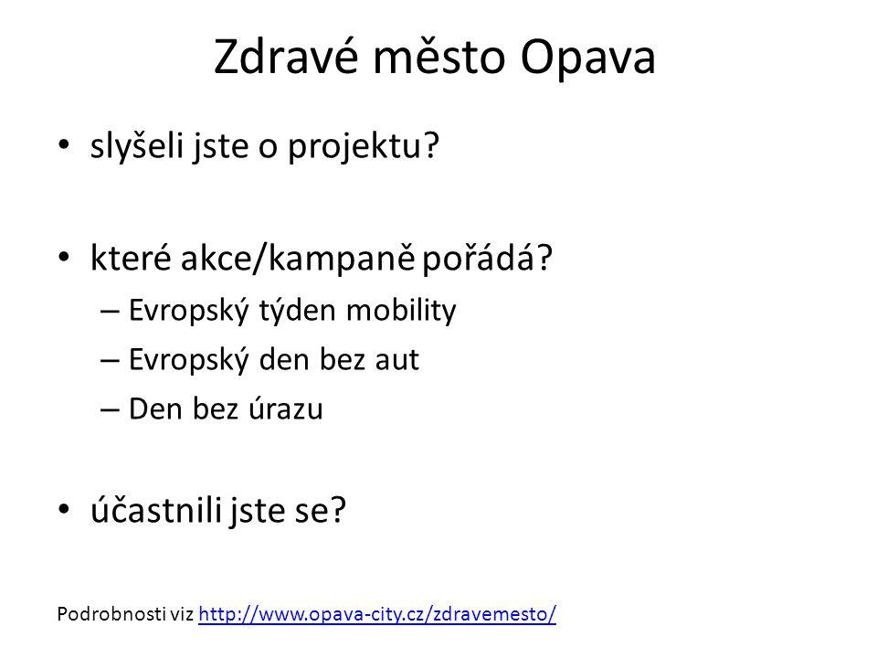 Zdravé město Opava slyšeli jste o projektu. které akce/kampaně pořádá.