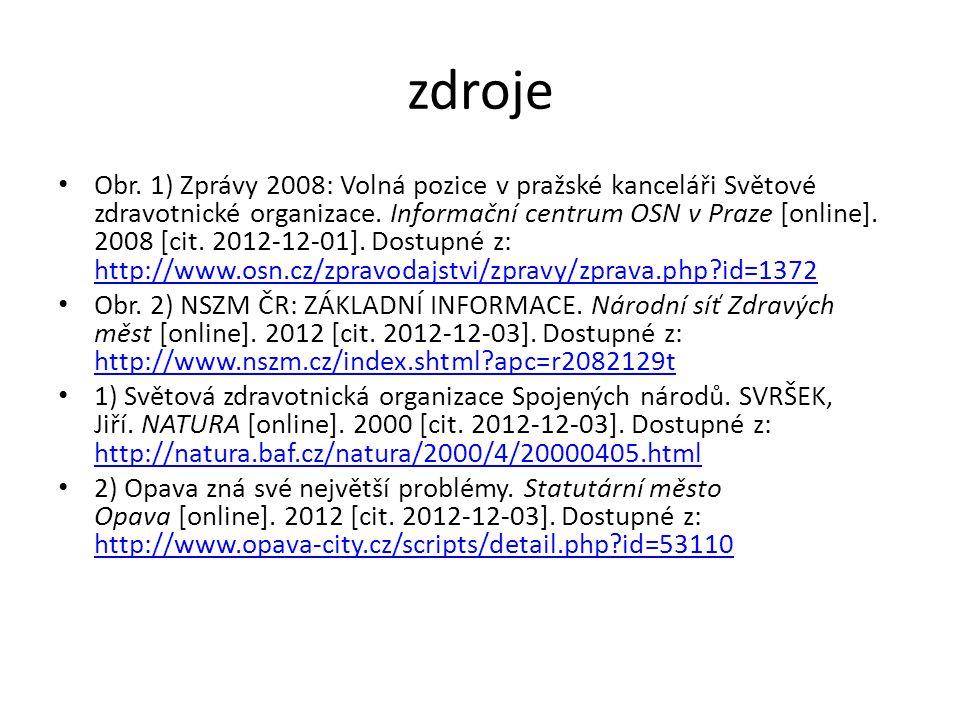 zdroje Obr. 1) Zprávy 2008: Volná pozice v pražské kanceláři Světové zdravotnické organizace.