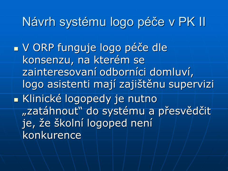 Návrh systému logo péče v PK II V ORP funguje logo péče dle konsenzu, na kterém se zainteresovaní odborníci domluví, logo asistenti mají zajištěnu sup