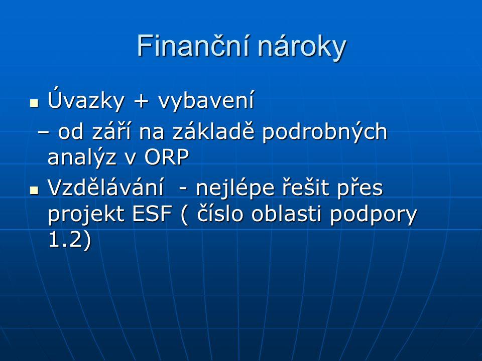 Finanční nároky Úvazky + vybavení Úvazky + vybavení – od září na základě podrobných analýz v ORP – od září na základě podrobných analýz v ORP Vzdělává