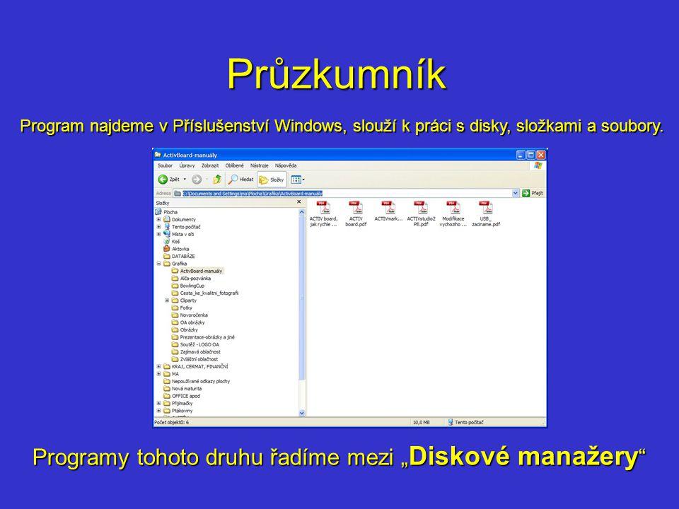 Průzkumník Program najdeme v Příslušenství Windows, slouží k práci s disky, složkami a soubory.