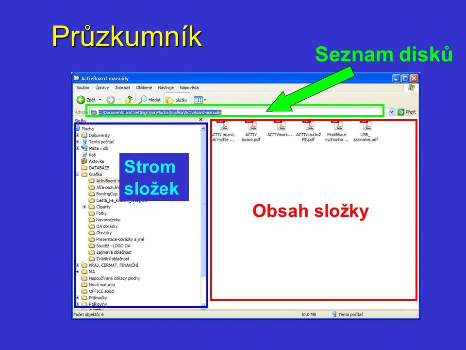 Průzkumník Základní operace se složkami a soubory  zobrazení obsahu složky (seznam, ikony, podrobnosti)  vytvoření nové složky  přejmenování složky  odstranění složky  kopírování/ přesunutí souboru /složky (schránka)  přejmenování souboru /složky  odstranění souboru  řazení seznamu souborů ve složce  výběr skupiny souborů