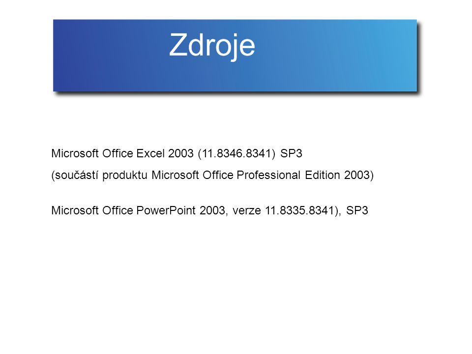 Microsoft Office Excel 2003 (11.8346.8341) SP3 (součástí produktu Microsoft Office Professional Edition 2003) Microsoft Office PowerPoint 2003, verze 11.8335.8341), SP3